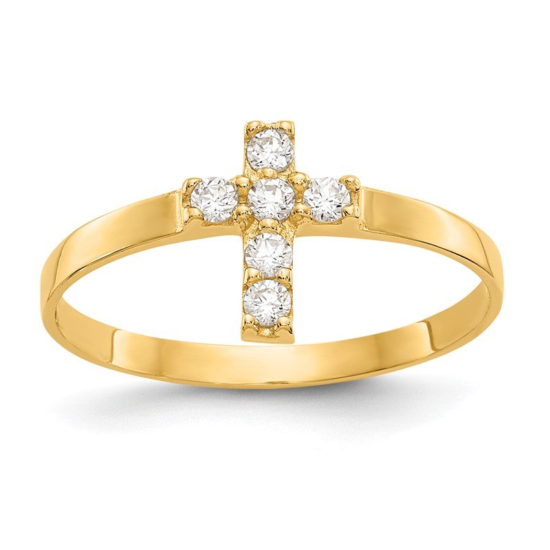 Quality Gold 14k Madi K CZ Cross Baby Ring