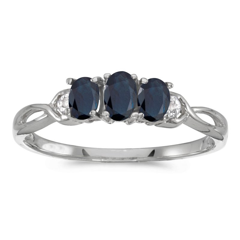 Color Merchants 14k White Gold Oval Sapphire And Diamond Three Stone Ring