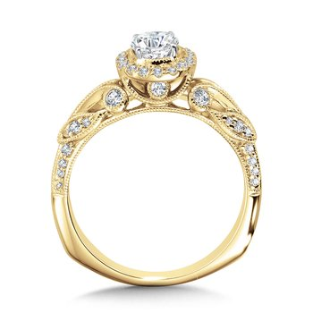 Vintage Milgrain & Filigree Accented Halo Engagement Ring