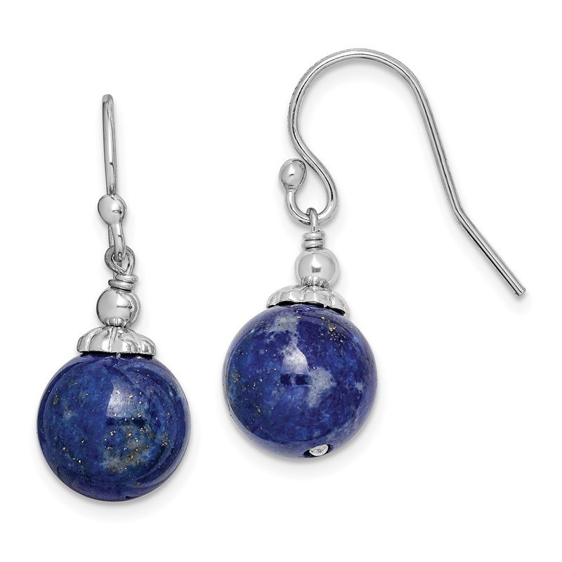 Quality Gold Sterling Silver Rhodium-plated Reconstructed Lapis Drop Earrings