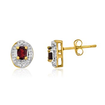 14k Yellow Gold Garnet Earrings with Diamonds