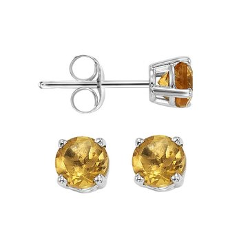 Four Prong Citrine Studs in 14K White Gold (4 MM)
