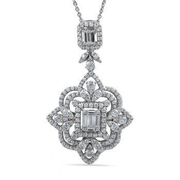 14K Art Deco Pendant with 164 rd Diamonds 2.01C & 3 bag 0.40C