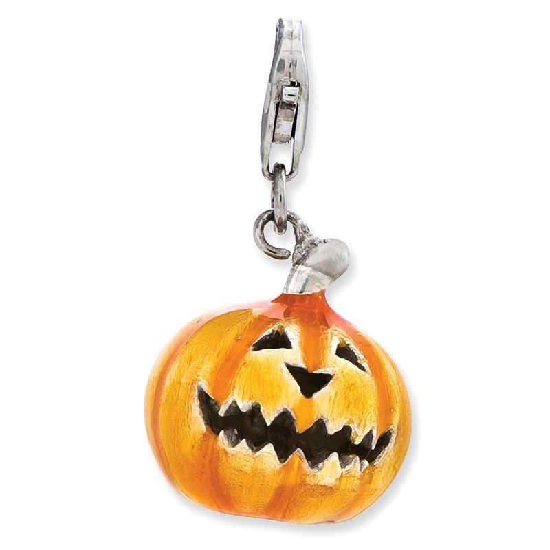 Quality Gold Sterling Silver 3-D Enameled Jack o Lantern w/Lobster Clasp Charm