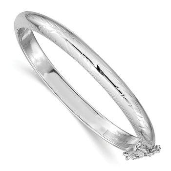 Sterling Silver Rhodium-plated 5mm Baby Hinged Bangle Bracelet