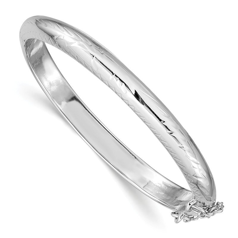 Arizona Diamond Center Collection Sterling Silver Rhodium-plated 5mm Baby Hinged Bangle Bracelet