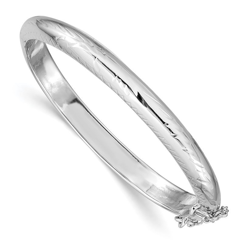 Quality Gold Sterling Silver Rhodium-plated 5mm Baby Hinged Bangle Bracelet