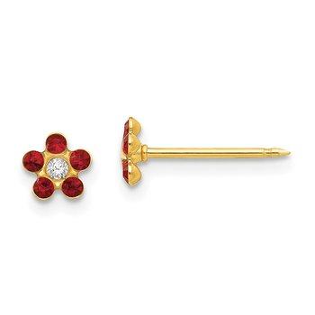 Inverness 14k July Red Crystal Birthstone Flower Earrings
