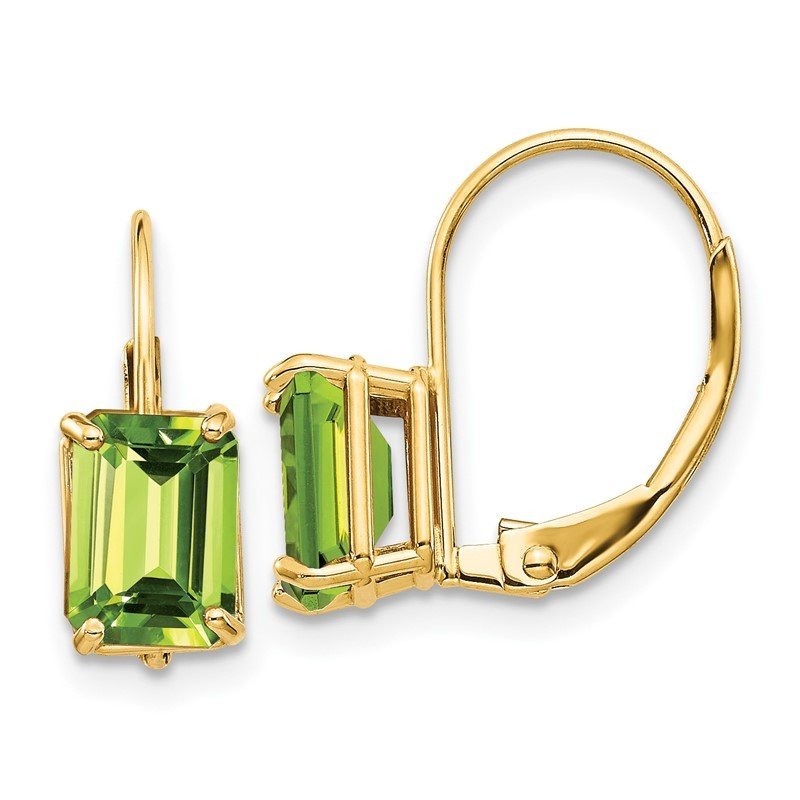 Quality Gold 14k 7x5mm Emerald Cut Peridot Leverback Earrings