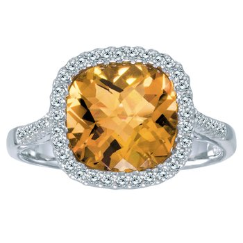 14k White Gold Cushion Citrine and Diamond Ring