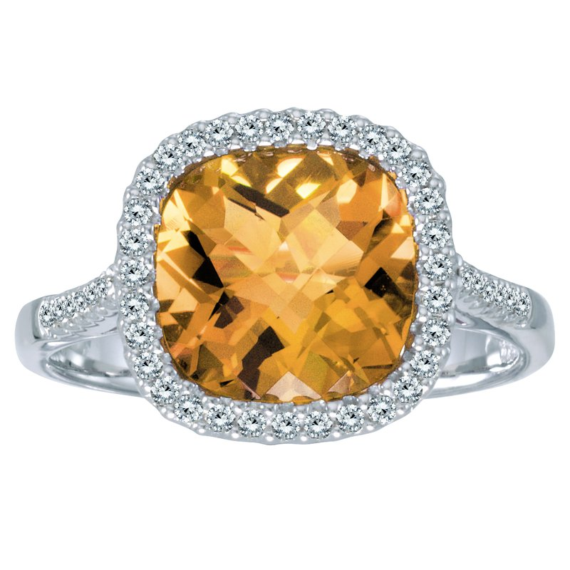 Color Merchants 14k White Gold Cushion Citrine and Diamond Ring