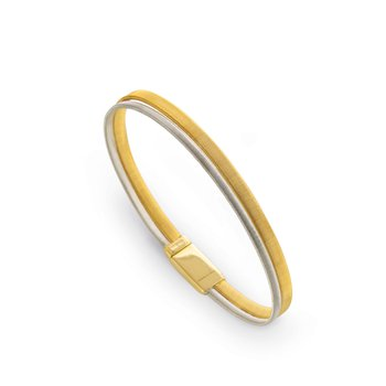 Masai Two Row Wide Bracelet In Yellow & White Gold