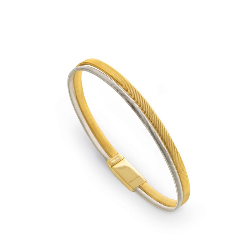 Marco Bicego Masai Two Row Wide Bracelet In Yellow & White Gold