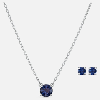 Attract Round Set, Blue, Rhodium plated
