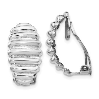 Sterling Silver Rhodium-plated Clip Back Non-pierced Earrings