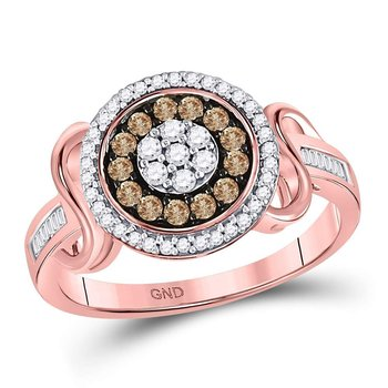 10kt Rose Gold Womens Round Brown Color Enhanced Diamond Flower Cluster Ring 1/2 Cttw