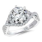 Valina Bridals Mounting with side stones .51 ct. tw., 2 ct. round center.