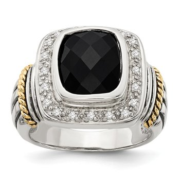 Sterling Silver w/14k Black Onyx w/Diamond Ring
