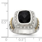 Shey Couture Sterling Silver w/14k Black Onyx w/Diamond Ring