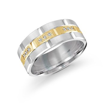8mm two-tone all yellow gold brick motif band