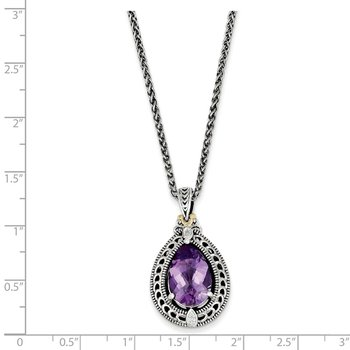 Sterling Silver w/14k Diamond & Amethyst Necklace