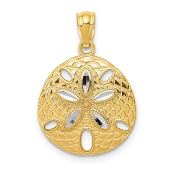 14k w/Rhodium Diamond-cut Polished Sand Dollar Pendant