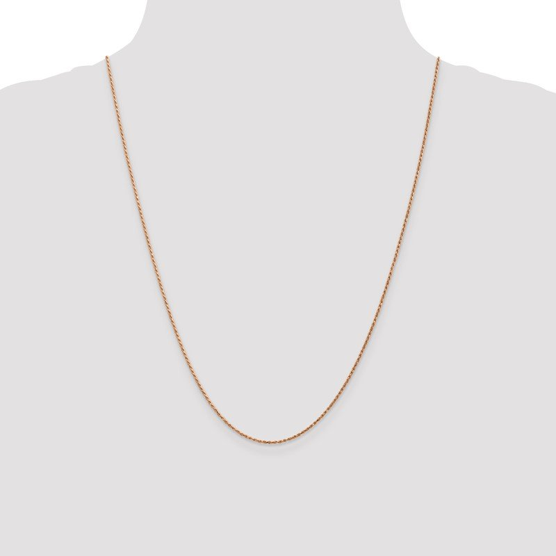 Quality Gold 14k Rose Gold 1mm D/C Machine-made Rope Chain