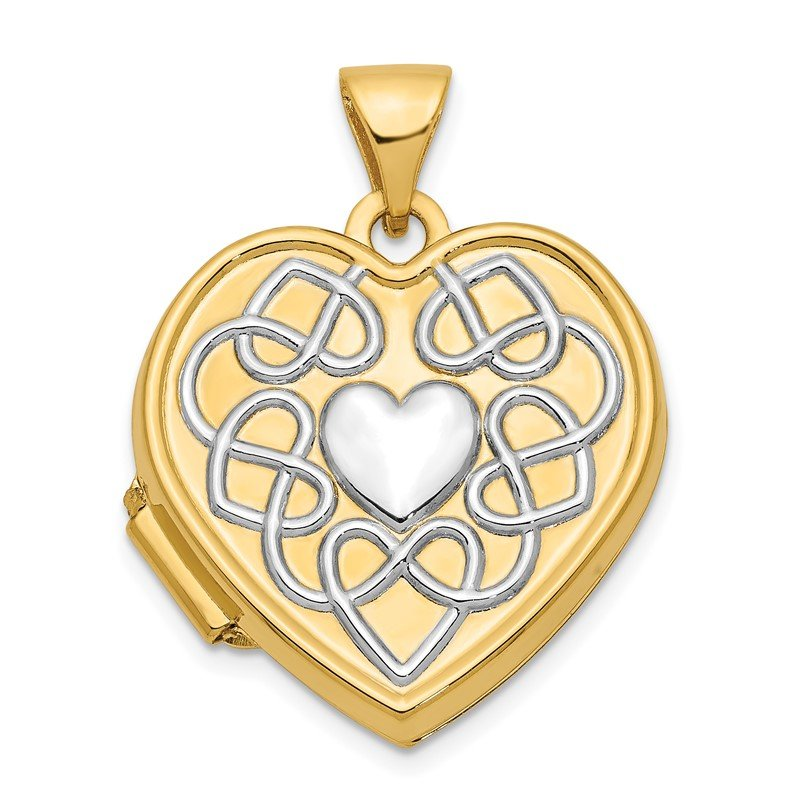 Quality Gold 14ky w/ White Rhodium Knotted Heart of Gold Reversible Heart Locket