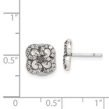 Sterling Silver Antiqued CZ Flower Front & Back Post Earrings