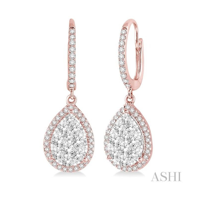 Gemstone Collection pear shape lovebright essential diamond earrings