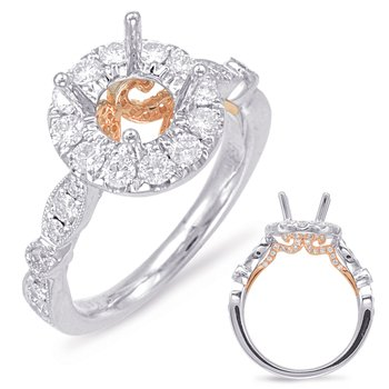 White & Rose Gold Halo Engagement Ring