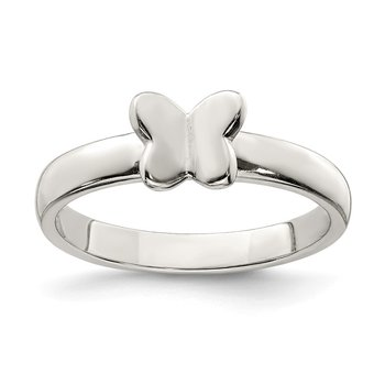 Sterling Silver Rhodium-plated Polished Butterfly Ring