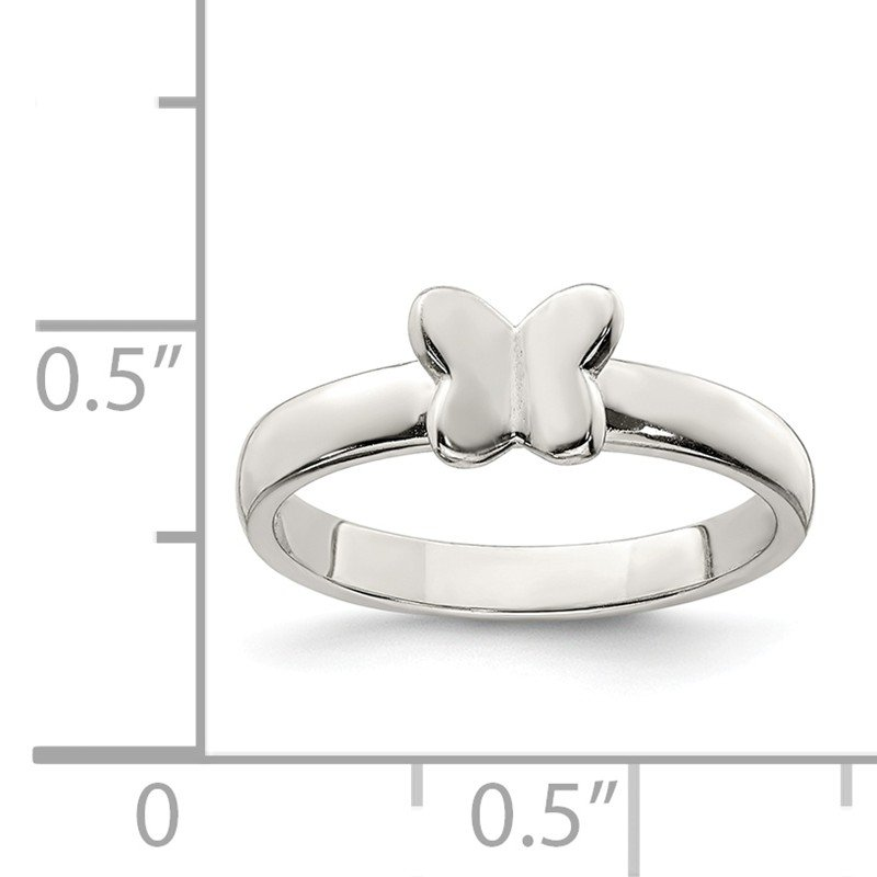 Quality Gold Sterling Silver Rhodium-plated Polished Butterfly Ring