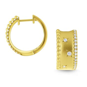 14k Gold and Diamond Wide Huggie Hoops