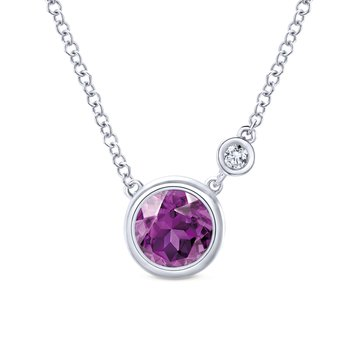925 Silver Diamond Amethyst Fashion Necklace