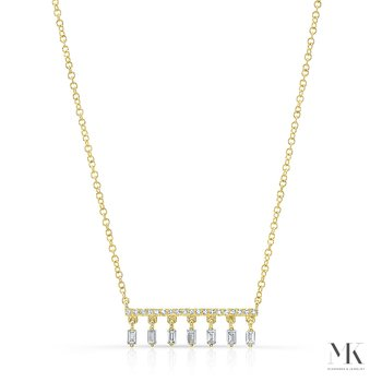 Yellow Gold Dangling Baguette Bar Necklace