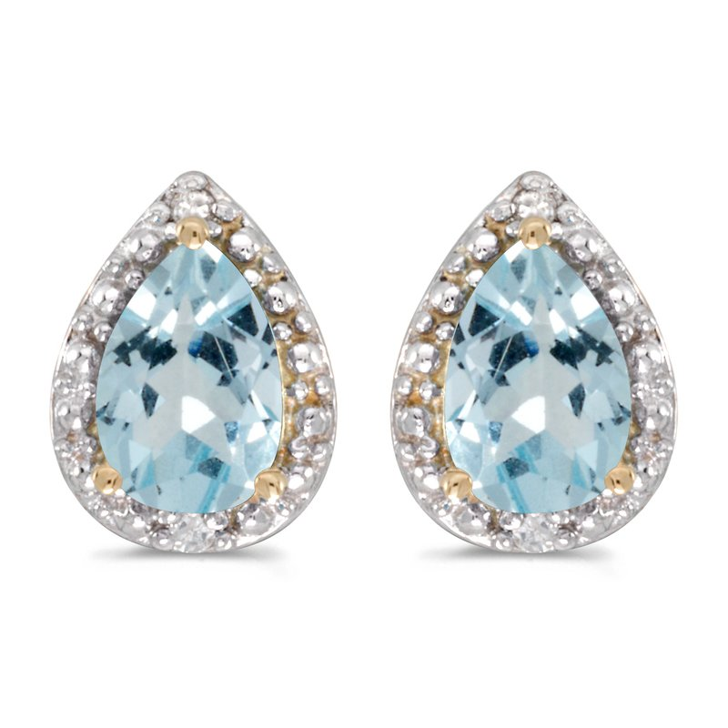 Color Merchants 10k Yellow Gold Pear Aquamarine And Diamond Earrings
