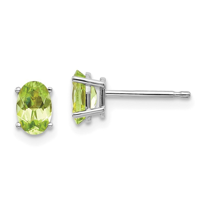 Quality Gold 14k White Gold 6x4 Oval August/Peridot Post Earrings