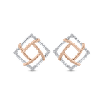 Essentials 10K Two Tone Gold Round Diamond Square Shape Fashion Stud Earrings (.07 cttw)