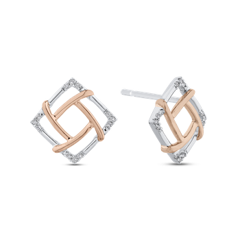 10K Two Tone Gold Round Diamond Square Shape Fashion Stud Earrings (.07 cttw)