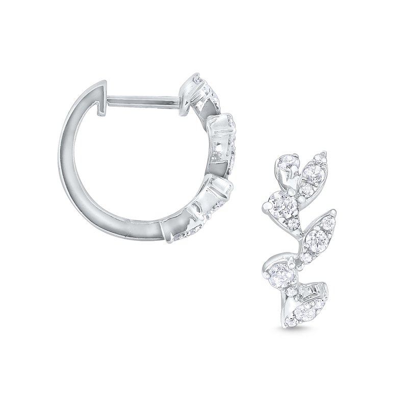 KC Designs 14k Gold and Diamond Laurel Hoops