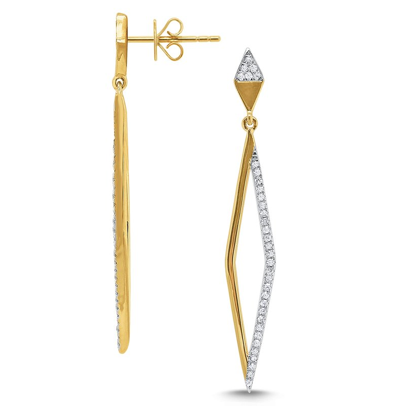 KC Designs 14k Gold and Diamond Geometric Linear Earrigns