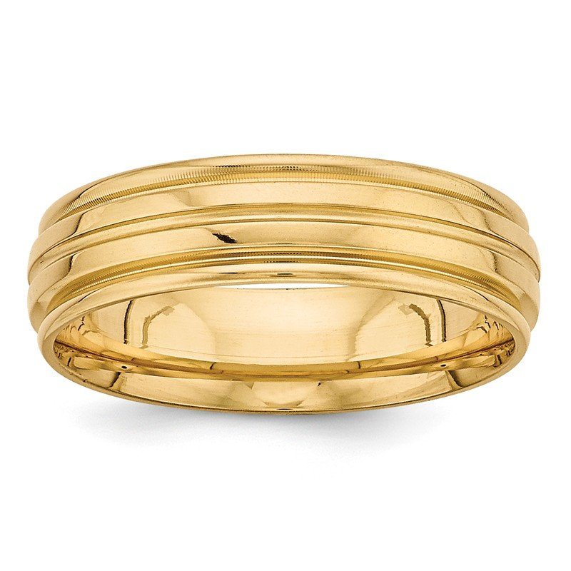 Quality Gold 14k Yellow Gold Light Comfort Fit Fancy Band