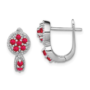 Sterling Silver Rhodium-plated Glass Filled Ruby Circle Hinged Earrings