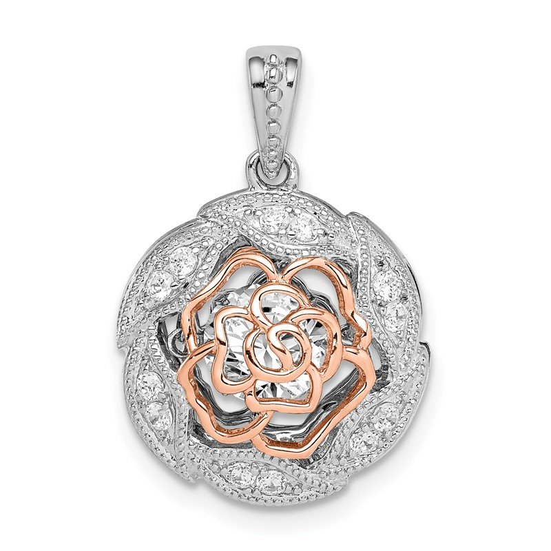 Quality Gold Sterling Silver Rhod-plated & Rose-tone Flower w/Vibrant CZ Pendant
