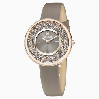 Crystalline Pure Watch, Leather strap, Champagne-gold tone PVD