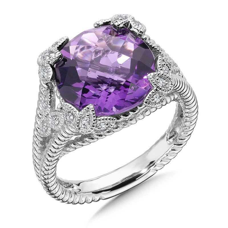 Colore Sg Sterling Silver Diamond & Amethyst Ring