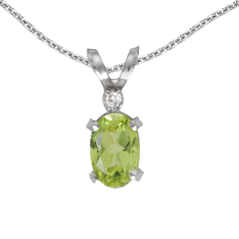 Color Merchants 14k White Gold Oval Peridot And Diamond Filagree Pendant