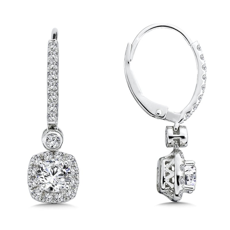 Caro74 Diamond Drop Earrings with Cushion Halo in 14K White Gold with Platinum Post (1ct. tw.)