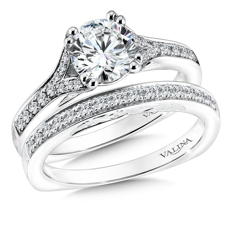 Valina Bridals Mounting with side stones .16 ct. tw., 1 ct. round center.